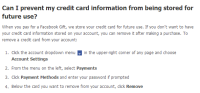 remove credit card fb