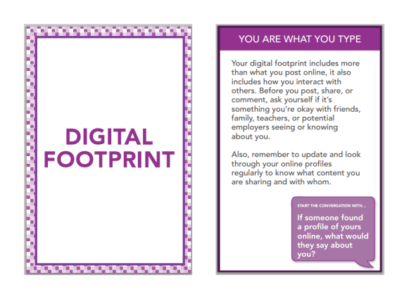 digital citizenship footprint card