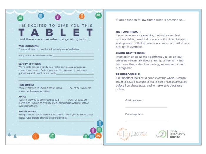 tablets safety card