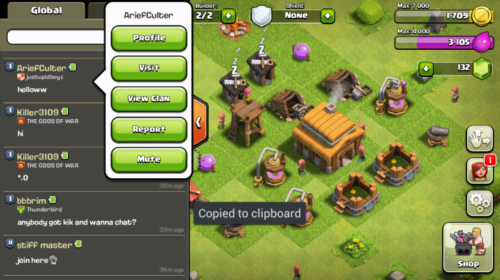 clash clans report player