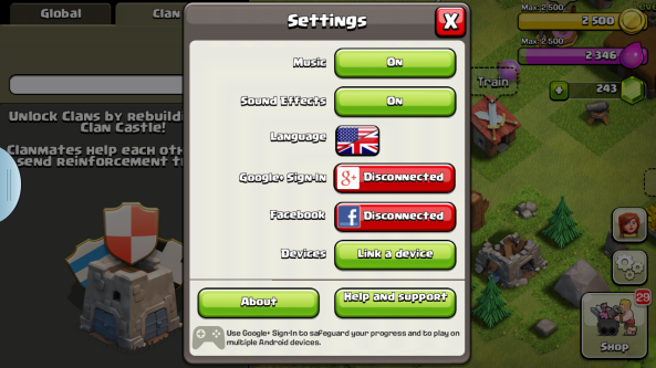 clash clans setting