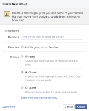 facebook group create